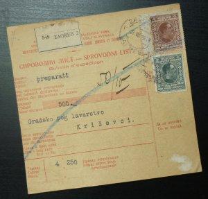 Yugoslavia 1928 Parcel Card from Zagreb to Krizevci Croatia A19