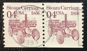 US #2451 Used F/VF Vertical Coil Pair - Steam Carriage 1866