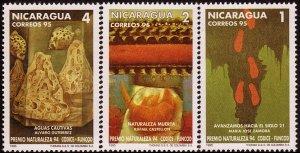 NICARAGUA NATURE PAINTINGS Sc 2095-2097 MNH 1995