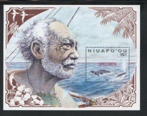 Niuafo'ou 133 MNH,  Whale (Specimen) Souvenir Sheet from 1990.