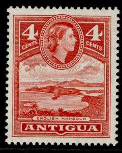 ANTIGUA QEII SG124, 4c scarlet, M MINT.