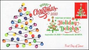 20-230, SC 5527, 2020, Holiday Delights, FDC, Digital Color Postmark, Tree,