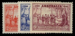 AUSTRALIA GVI SG193-195, complete set, M MINT. Cat £38.