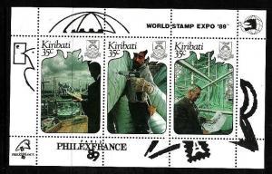 Kiribati-Sc#527-Unused NH sheet-PhilexFrance-World Stamp Expo-1989-