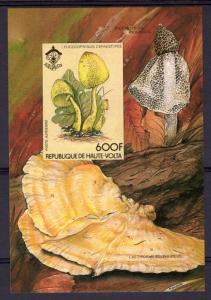 Upper Volta 1984 Mi#Bl.80B MUSHROOMS-SCOUTS Souvenir Sheet IMPERF.MNH