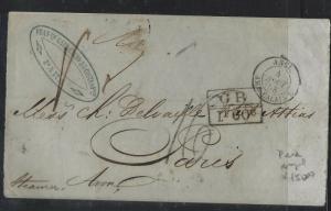 BRAZIL  (PP2701B) 1858  BRTISH PO PARA VIA LONDON TO FRANCE
