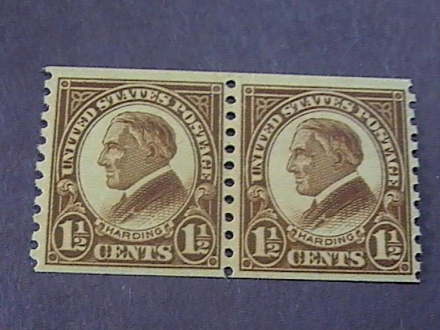 U.S.# 598-MINT/NEVER HINGED---COIL PAIR---BROWN---HARDING---1925(#A)