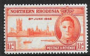 NORTHERN RHODESIA SG46a 1946 1½d VICTORY p13½ MTD MINT