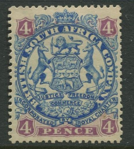 British South Africa - Scott 30 - Arms -1896 - MNG - Single 4p Stamp