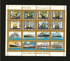 Ajman State Old & Modern Ships 1973 Souvenir Sheet of 16 CTO Mint Hinged