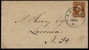#25 ON 1857 COVER LOWELL, MASS TO LACONIA, NH BQ6397