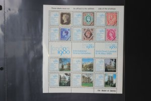 London 1980 Intl Stamp Exhibition House Questa GB UK reprints Philatelic sheet