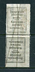 x279 - LATVIA Daugavpils 1920s MUNICIPAL Revenue Stamp Tete-Beche PAIR