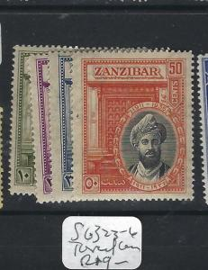 ZANZIBAR  (P2401B)   SULTAN   SG 323-6  TONED GUM  MOG