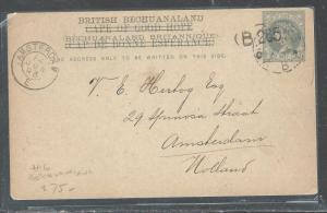 BECHUANALAND  (PP2708B) OVPT ON CAPE OF GOOD HOPE QV PSC SENT TO HOLLAND NO MSG