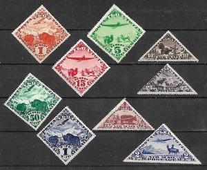 TANNU-TUVA STAMPS. 1934  AIR POST Sc.#C1-C9. SET COMPLETE MNH