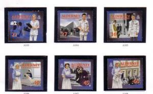 Alderney Sc 164-9 2001 Health Services stamp set NH