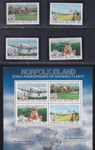 Norfolk Island # 310-313 & 313a, Manned Flight 200th Anniversary, NH, 1/2 Cat.