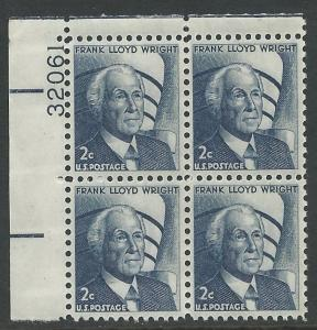 USA # 1280 Frank Lloyd Wright  Plt.Blk/4 32061 UL  (1) Mint  NH