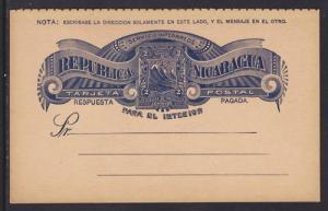 Nicaragua H&G 22 mint 1893 2c + 2c Reply Card F-VF