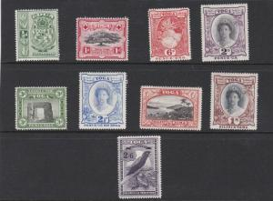 TONGA  1942 - 49  S G 74 - 82  SET OF 9  MH  CAT £65