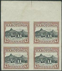 COOK IS 1920 4d IMPERF PLATE PROOF block of 4 on ungummed wove paper.......44164