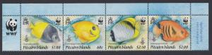 Pitcairn WWF Coral Reef Fish strip of 4v with WWF Logo SG#807-810 SC#705a-d