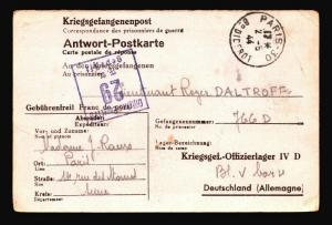 France 1944 POW Card to STALAG 29 / Paris CDS - Z14484