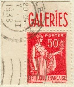 FRANCE - 1935 - pub BARBÈS (Galeries) sur Yv.283f 50c Paix t.III
