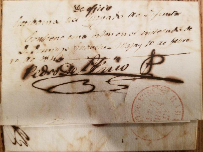 O)  1842 SPANISH ANTILLES, PREPHILATELY - PRESTAMP, OF OFFICE, FROM JUZGADO