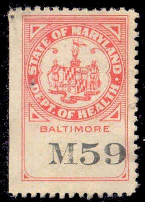 Maryland State Revenue Stamp - Bedding Tax # BE5