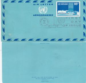 United Nations 1975 18c Aerogramme First Day of Issue VGC