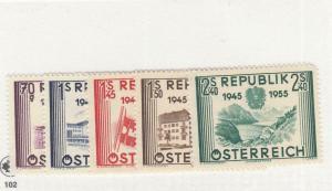 AUSTRIA # 599-603  VF-MLH  1955 /10TH ANV OF LIBERATION DESIGNS CAT VALUE $49