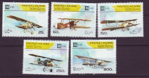 J24394 JLstamps 1996 laos set mhr #1284-8 airplanes