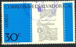 EL SALVADOR 1971 30c Central America Independence Anniver Airmail Sc C304 VFU