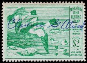 United States Hunting Permit Stamp Scott RW16 (1949) Used/Signed F W