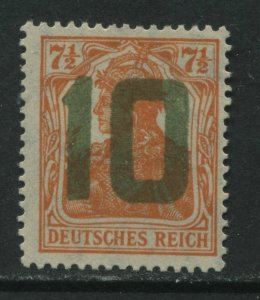 Poland 1919 Germany overprinted 10 in green for use in Gniezno mint hinged