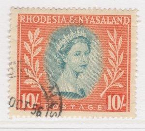 British Colony Rhodesia & Nyasaland 1954 10s Used Stamp QEII SG 14 A22P19F8985