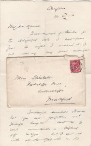 England 1913 Muirhead Cancel Stamp Cover & Letter to Bradford Ref 34890