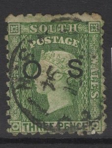 NEW SOUTH WALES SGO25 1882 3d BLUISH GREEN(5½mm) USED