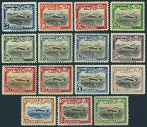 Mozambique Co C1-C15, MNH. Michel 186-200. Airplane over Beira. 1935.