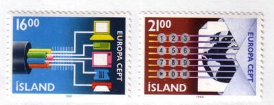 Iceland Sc660-1 1988 Europa Communications stamps mint NH