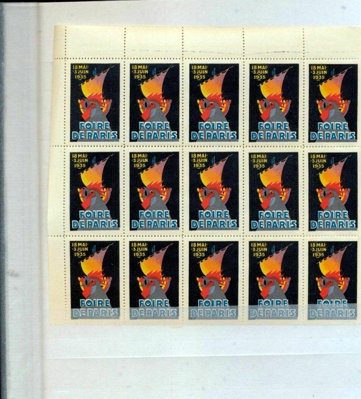 FRANCE 1935 Foire De Paris Poster Labels Block MNH.15 Stamps.(FY760