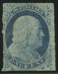 #9 1c 1852 F-VF USED WITH LIGHT RED CANCEL CV $120 AU934