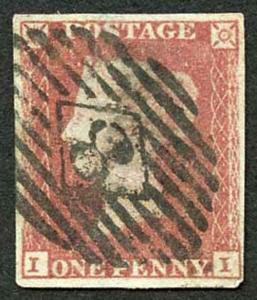 1841 Penny Red (II) re-cut side lines