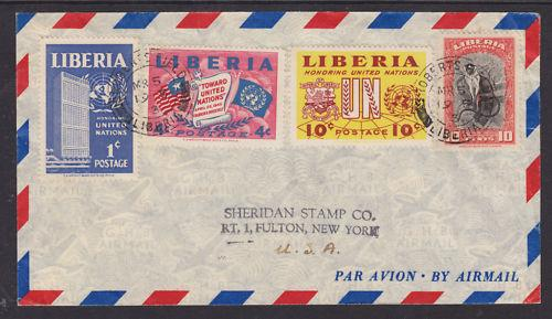 Liberia Sc 288/340 on 1955 Air Mail Cover to NY