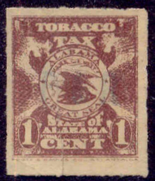 Alabama State Revenue Stamp 1c Tobacco Tax # T1
