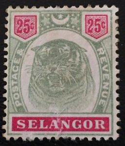 Malaya Selangor 1896 Tiger 25c Mint NG SG#58 M1473