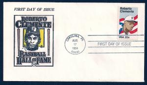 UNITED STATES FDC 20¢ Roberto Clemente 1984 Davis