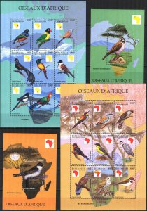 Central African 1999 Birds 2 sheets + 2 S/S MNH